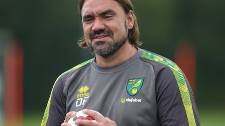 Daniel Farke was in reflective mood at Norwich City's open training session on their German tour Pic