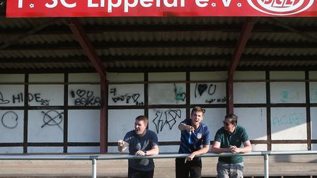 Archant's touring party Dave Freezer, Tony Thrussell and Paddy Davitt took to the pitch at SC Lippet