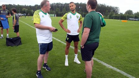 The Norwich players meet the fans during Norwich City training at Hotel-Residence Klosterpforte, Har