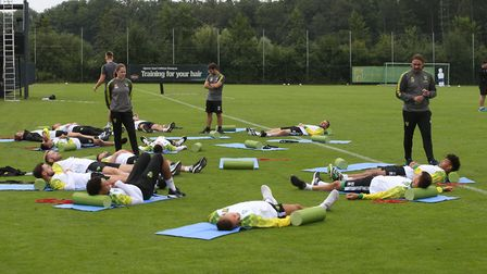 Norwich Head Coach Daniel Farke and the Norwich players during Norwich City training at Hotel-Reside