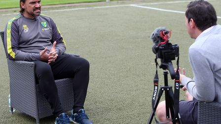 Daniel Farke sat down with Paddy Davitt in what proved a precarious location at the club's open trai