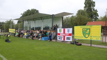 The Norwich fans watch on during Norwich City training at Hotel-Residence Klosterpforte, Harsewinkel