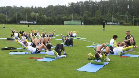 The Norwich players during Norwich City training at Hotel-Residence Klosterpforte, HarsewinkelPictur
