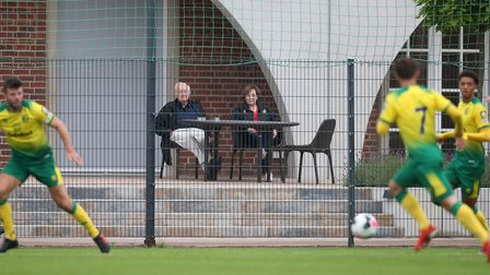 Norwich City's majority shareholder Delia Smith and Michael Wynn-Jones watching a 4-1 friendly win o
