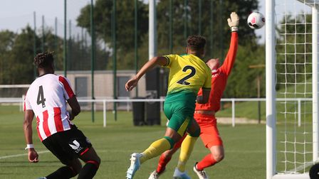 Max Aarons struck the woodwork late in Norwich City's 3-1 friendly defeat to Brentford Picture: Paul