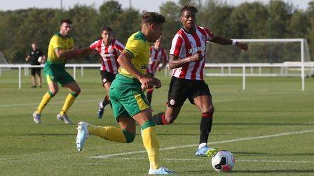 Max Aarons of Norwich goes on a run that ends with him hitting the post from a narrow angle during t