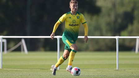 Tom Trybull of Norwich in action during the Pre-season friendly match at Colney Training Centre, Nor