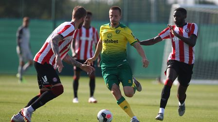 Marco Stiepermann of Norwich in action during the Pre-season friendly match at Colney Training Centr