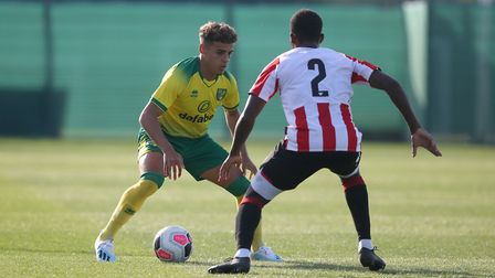 Max Aarons of Norwich in action during the Pre-season friendly match at Colney Training Centre, Norw