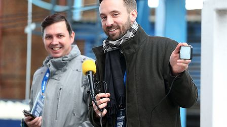 Archant journalists Paddy Davitt (left) and Michael Bailey broadcast the team news live on Facebook