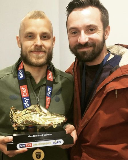 Norwich City correspondent Michael Bailey (right) with striker and EFL Championship golden boot winn