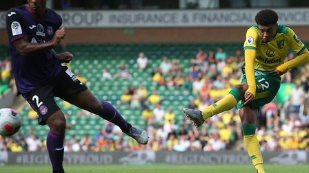 Jamal Lewis tries his luck in the first half of Norwich City's 1-0 friendly win over Toulouse Pictur