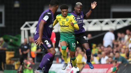 Jamal Lewis of Norwich in action during the Pre-season friendly match at Carrow Road, NorwichPicture