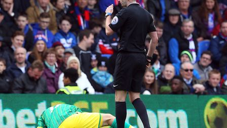 Michael Oliver's last game in charge of Norwich was a 1-0 loss at Crystal Palace in the Premier Leag