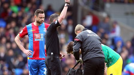 Timm Klose was booked by Michael Oliver after injuring himself in a tackle at Selhurst Park i April