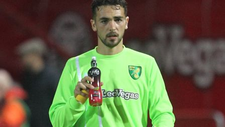 Adam Phillips was on the bench for Norwich City at Brentford in the League Cup last season Picture:
