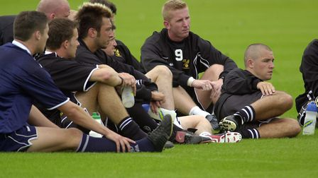 City players taking a break during training at Colney Picture: Archant