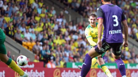 Norwich City midfielder Kenny McLean notched in the first half against Toulouse Picture: Paul Cheste