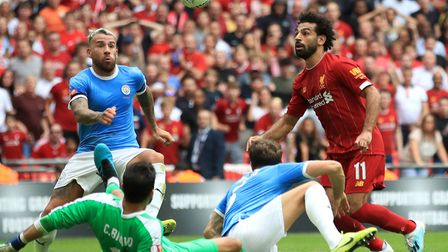 Liverpool's Mohamed Salah has a chance on goal during the Community Shield match at Wembley Stadium,