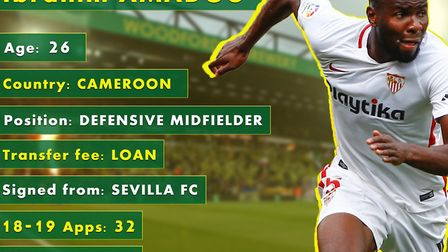 Norwich City have signed Ibrahim Amadou on loan from Sevilla, with a view to a permanent deal Pictur