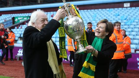 Delia Smith and Michael Wynn Jones with the Championship trophy at Villa Park Picture: Paul Chestert