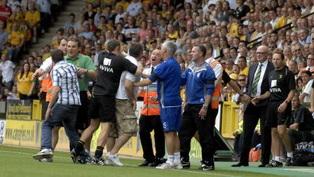 Angry fans on the pitch during City's disaster against Colchester in 2009 Picture: Archant