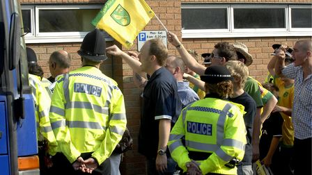 The scene outside Carrow Road after City were humiliated by Colchester Picture: Archant