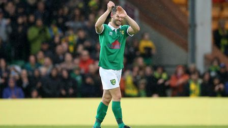 Wes Hoolahan says his farewells to Carrow Road at his testimonial match in May Picture: Paul Cheste