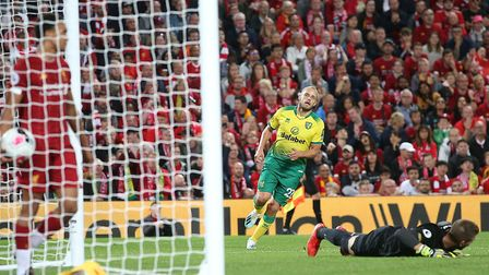 Teemu Pukki of Norwich scores his sides 1st goal during the Premier League match at Anfield, Liverpo
