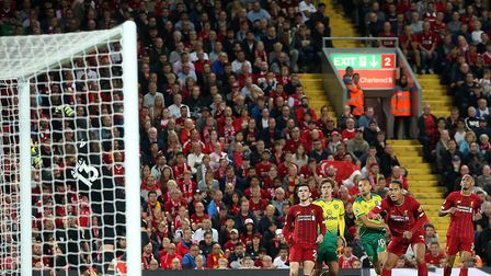 Moritz Leitner clattered the crossbar within five minutes of coming on at Anfield Picture: Paul Ches