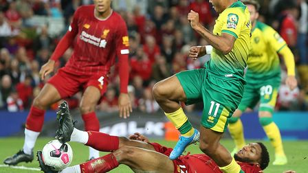 Onel Hernandez tries his luck late on in Norwich City's 4-1 Premier League defeat at Liverpool Pictu
