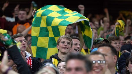 City fans celebrate Teemu Pukki's consolation goal at Anfield. Picture: Paul Chesterton/Focus Images