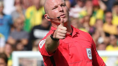 Simon Hooper, pictured last season during Norwich City's 3-0 home loss to Leeds, will be the VAR off