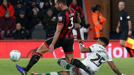 Onel Hernandez scored as Norwich City were beaten 2-1 at Bournemouth in the fourth round of the Leag