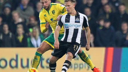 Matt Ritchie in action for Newcastle during a 2-2 Championship draw at Norwich City in February 2017