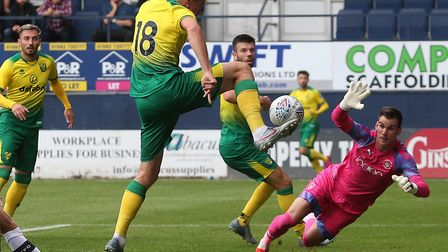 Marco Stiepermann of Norwich scores his sides 1st goal during the Pre-season friendly match at Kenil
