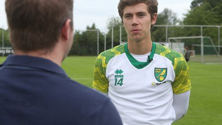 Norwich City midfielder Todd Cantwell was interviewed by David Freezer in Germany, proudly sporting