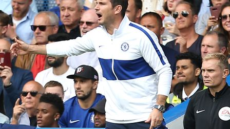 Chelsea manager Frank Lampard issues his instructions during Sunday's 1--1 home draw with Leicester.