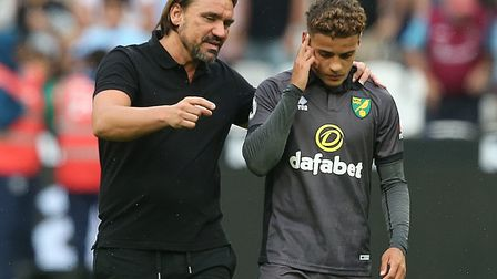 Head coach Daniel Farke speaks to youngster Max Aarons at full-time at the London Stadium Pictures: