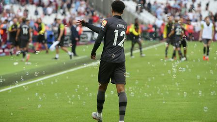 Jamal Lewis could have done without the bubbles at the end of the match on Saturday. Picture: Paul C