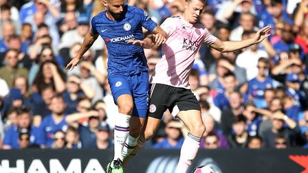 Chelsea striker Olivier Giroud, left, in action during last weekend's 1-1 draw with Leicester at Sta
