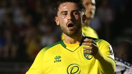 Patrick Roberts rues a missed chance during Norwich City's cup loss at Crawley Picture: Paul Chester