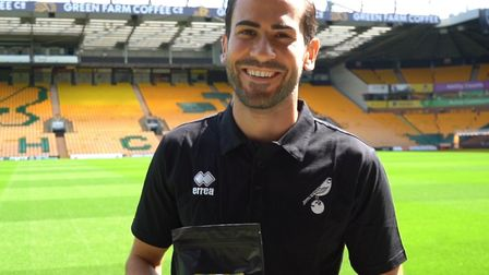 Norwich City midfielder Mario Vrancic and his own unique brand of Green Farm coffee at the launch of