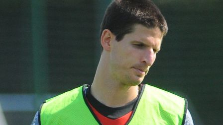 Timm Klose at Norwich City's training on Thursday ahead of Chelsea's Premier League visit Picture: T