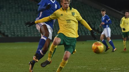 Atli Barkarson in FA Youth Cup quarter-final action for Norwich City U18s in 2018 Picture: Sonya Dun