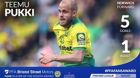 Norwich City striker Teemu Pukki has been nominated for the PFA Fans' Player of the Month award for