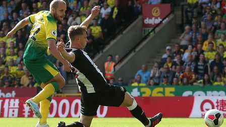 Teemu Pukki of Norwich scores his sides 3rd goal and completes his hat trick during the Premier Leag