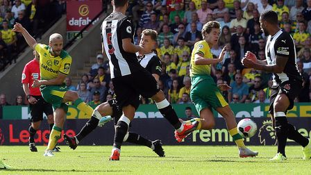Norwich City striker Teemu Pukki slotted his second against Newcastle United Picture: Paul Chesterto