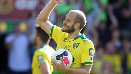 Teemu Pukki became the first Norwich player to score a top-flight treble in almost 26 years Picture: