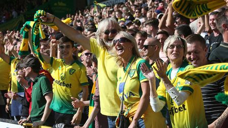 City supporters celebrate Teemu Pukki's second in their 3-1 win over Newcastle. Picture: Paul Cheste